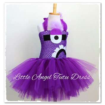Evil Purple Minion, Despicable Me 2, Handmade tutu dress, Costume, Party dress, Evil Minion Tutu Dress, Ages 2 3 4 5 6 7 8 9 10 11