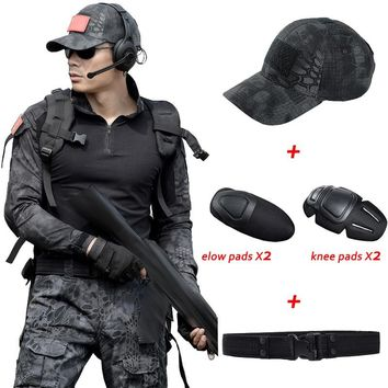 Uniforme Militar Men Tactical Hunting Clothing Black Python Camouflage Hunting Clothes Women Army Combat Multicam Shirt + pants
