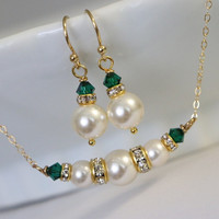 CHOOSE YOUR COLORS  Swarovski Ivory Pearl and Emerald Crystal Necklace and Earring Set, Bridesmaid Gift