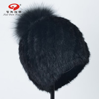 Black friday sale New arrival real fur hat for women natural mink fur cap with real fox fur pompom for lady hot sale