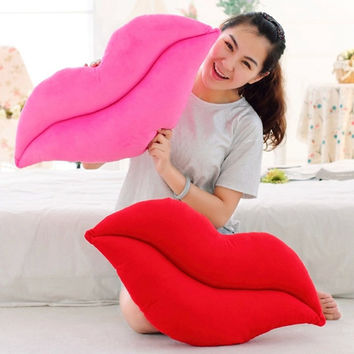 Creative Novelty Gift Home Decoration Funny Pink Red Lip Plush Cushion Pillow
