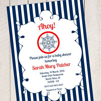 Sailor Theme Baby Shower Invitation