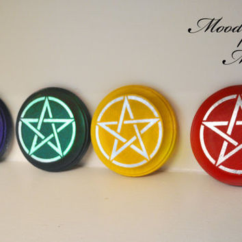 Set of Four Elemental Altar Tiles for Wicca, Circle Casting, Earth, Air, Wind, Fire, Water