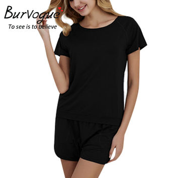 Burvogue Women Sexy Pajama Sets Camisole Modal Cotton Pajamas Shorts Set Summer Sleepwear Tank Sleeveless 2 Pcs Pajamas Nighties