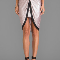 T-Bags LosAngeles Satin Knot Skirt in Metallic Mocha