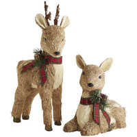Natural Reindeer with Plaid Ribbon - Small
