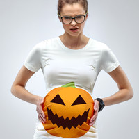 """A Pumpkin Bump"" Maternity Halloween T-Shirt"
