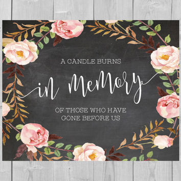 Printable In Memory Chalkboard Sign - A Candle Burns in Memory of those Who have Gone Before Us Floral Watercolor Flowers Pink  wedding sign