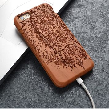 Lion and Elephant Natural Wood iPhone Cases