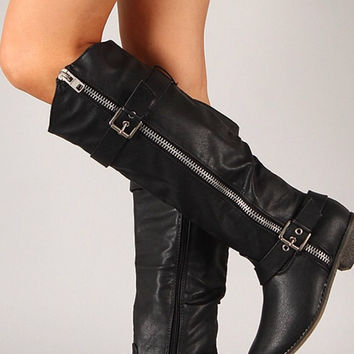 Double Buckle Rider Boots - Black