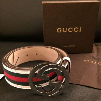ICIKIN2 Free Shipping Authentic Gucci Green Red White Belt