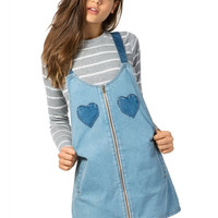 Denim Hearts Pinafore Dress