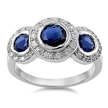 A Perfect 5.9TCW Round Cut Blue Sapphires & Russian Lab Diamond Halo Journey Ring