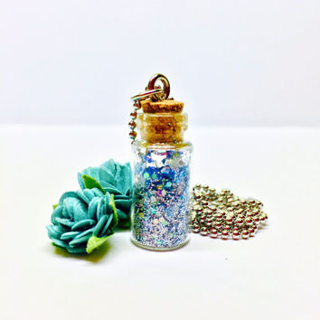 Pixie Dust Necklace, Blue Glitter Pendant, Fairy Dust Bottle Necklace, Angel Dust, Wish Dust, Magic Charm Necklace, Miniature Bottle Jewelry