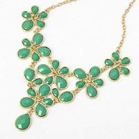 Fashion Golden Tone Chain Water Drop Green Resin Beads Bubble Crotch Pendant Statement Bib Necklace