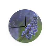 "Angie Turner ""Grape Hyacinth"" Green Purple Wall Clock"