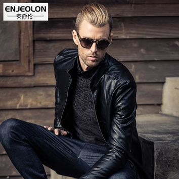 PU Motorcycle Leather Jackets Men Autumn Winter Clothing Male Casual black Coats