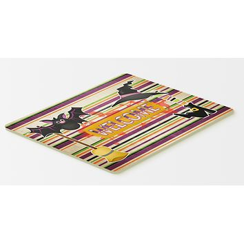 Witch Costume and Broom on Stripes Halloween Kitchen or Bath Mat 20x30