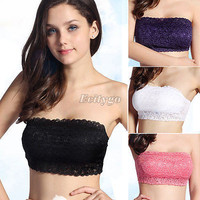 Hot Selling 2015 New Sexy Ladies Full Lace Stretch Padded Strapless Bra Bandeau Free Shipping R2