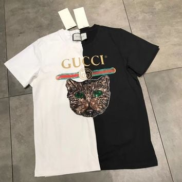 GUCCI Embroidery Sequin Cat Shirt Tunic Blouse Trending Top