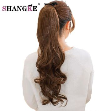 SHANG KE Long Wavy Ponytail Hairpieces Heat Resistant Fake Hairstyles Long Wavy Flip Clip in Hair Extensions Hair Tail Ponytail
