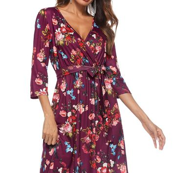 Womens Casual Sexy Floral Printed Dresses Female Long Sleeve V Neck Summer Spring Casual Evening Dresses Free Shipping