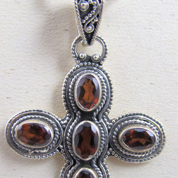 Vintage Sterling SIlver Garnet Cross Necklace Pendant Enhancer Bezel Set Open Back