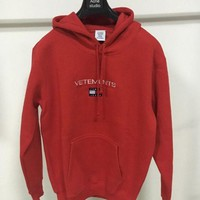 ONETOW VETEMENTS x TOMMYHILFIGER joint co-hooded hooded sweater