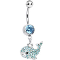 Aqua Gem Tail of the Whale Dangle Belly Ring | Body Candy Body Jewelry