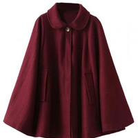 Wine Red Lapel Poncho Cape Woolen Coat
