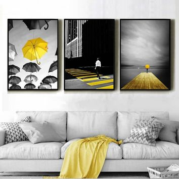 Nordic Fashion Black And Yellower Poster Bridge Umbrellas Walkway Landscape Canvas Paintings Decor Children Room Wall Art Prints