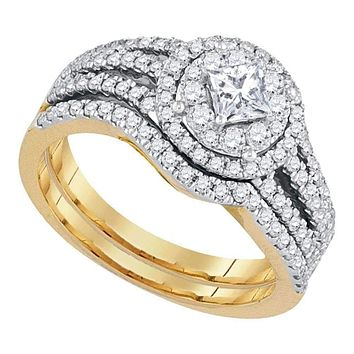 14kt Yellow Gold Women's Princess Diamond Solitaire Bridal Wedding Engagement Ring Band Set 1.00 Cttw - FREE Shipping (US/CAN)