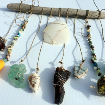 Beaded Mobile Sea Glass Sun Catcher Beach Glass Crafts Eco Friendly Upcycled Decor Beach Decor Driftwood Mobile Sea Pottery Lake Erie Ohio