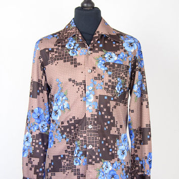 Floral Shirt Mens Vintage Flower Print Brown Abstract 1970s Style 60s Collar Size Medium Pocket