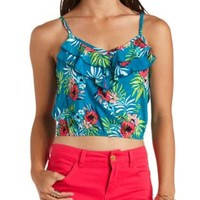 Double Ruffle Hawaiian Print Crop Top - Dark Turquoise Combo