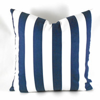 """Premier Prints Pillow Cover Any Size 1.5"""" Stripe Navy Blue White Stripe ..up to 20"""""""