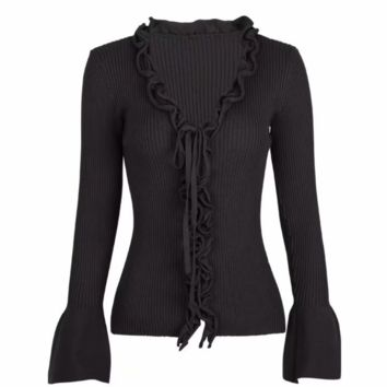 FREE SHIPPING Fall slim trim ruffles lace belted long-sleeve knit cardigan jacket