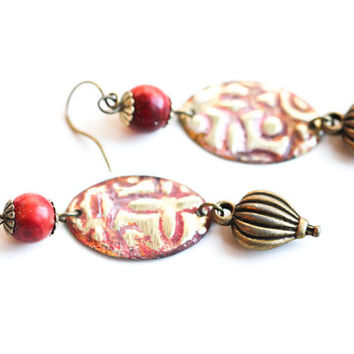 Hot Air Balloon Earrings, Steampunk Jewelry, Hand Painted