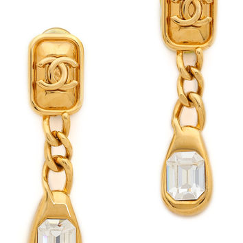 Vintage Chanel CC Rhinestone Dangle Earrings