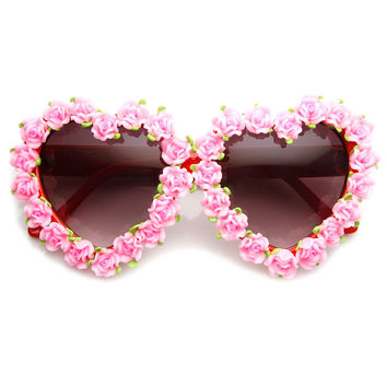 Flower Adorned Heart Shape Womens Oversize Sunglasses