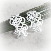 Wedding White Lace Heart Napkin Rings in Tatting - Valencia - Set of Two