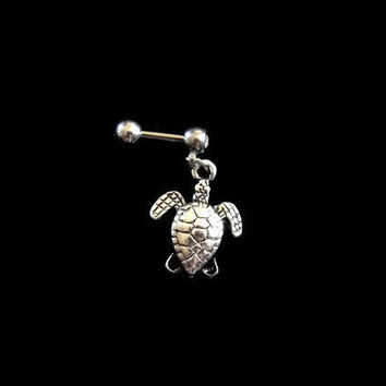 Turtle Cartilage 16ga Tragus Helix Earring Body Jewelry 316L Surgical Stainless Steel Dangling Turtle