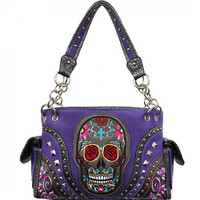 Calacas Sugar Skull Concealed Carry Shoulder Bag