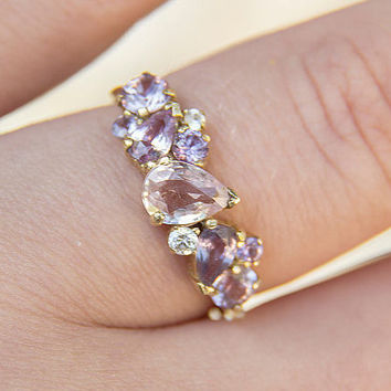 "Cluster Engagement Ring in Purple & Pink Sapphire ""Anastasia"""