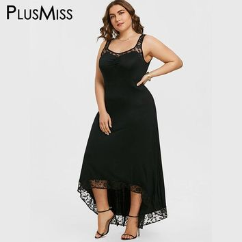 PlusMiss Plus Size 5XL Sexy High Low Maxi Long Party Dress Women Clothing Robe Femme Lace Sleeveless Bodycon Dress Large Size