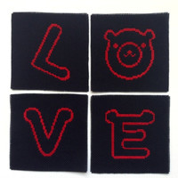 L O V E coasters Set of 4 drink coaster Love set coaster Bear and love coaster set Black and red