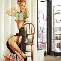 sexy vintage pin up retro girl shower curtain, curtains, shower curtains size 36x72 48x72 60x72 66x72