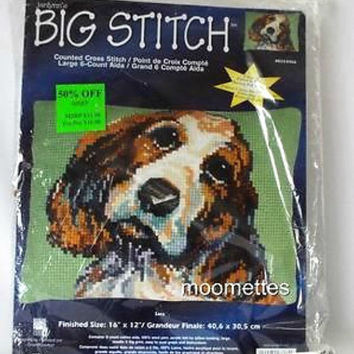 Janlynn Big Counted Cross Stitch Dog Pets Pillow Needlework Kit Sara 023-0366 Sealed New in Package 16x12