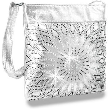 * Circular Colored and Clear Rhinestone Design Layered Sling In Silver