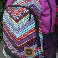 ROXY Chevron Boho Backpack School Book Bag NEW
